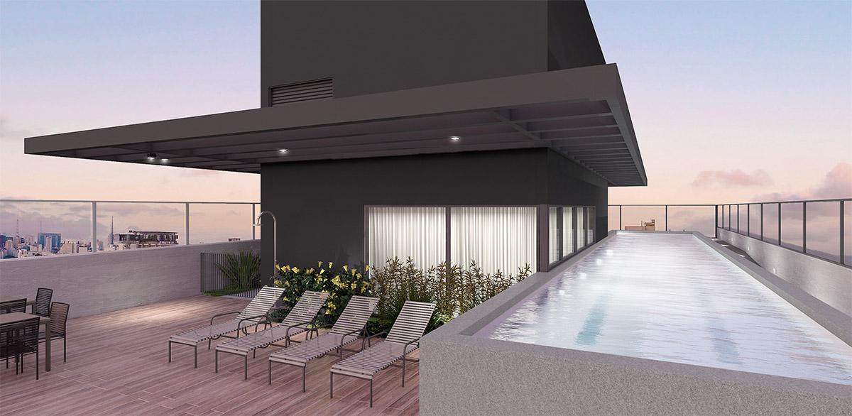 Perspectiva Artística da Piscina no Rooftop - Imagem Prleiminar