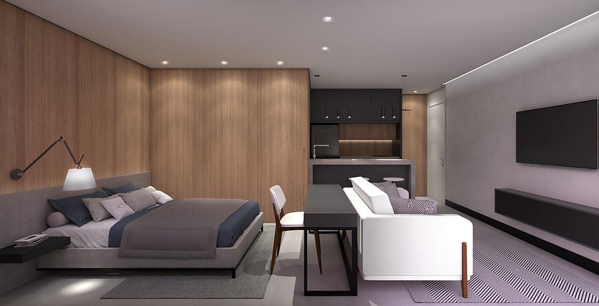 VA 433 Hospedagem - Perspectiva Artística do Apartamento