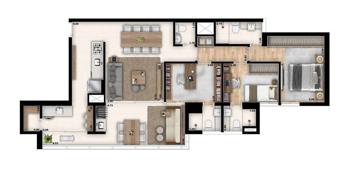 Marcco - 2 suítes I Despensa e Home Office com banheiro privativo