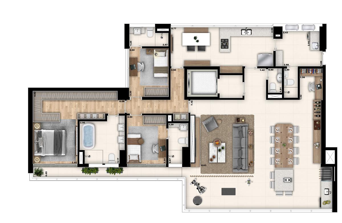 Marcco - 3 suítes I Living ampliado e Home Office