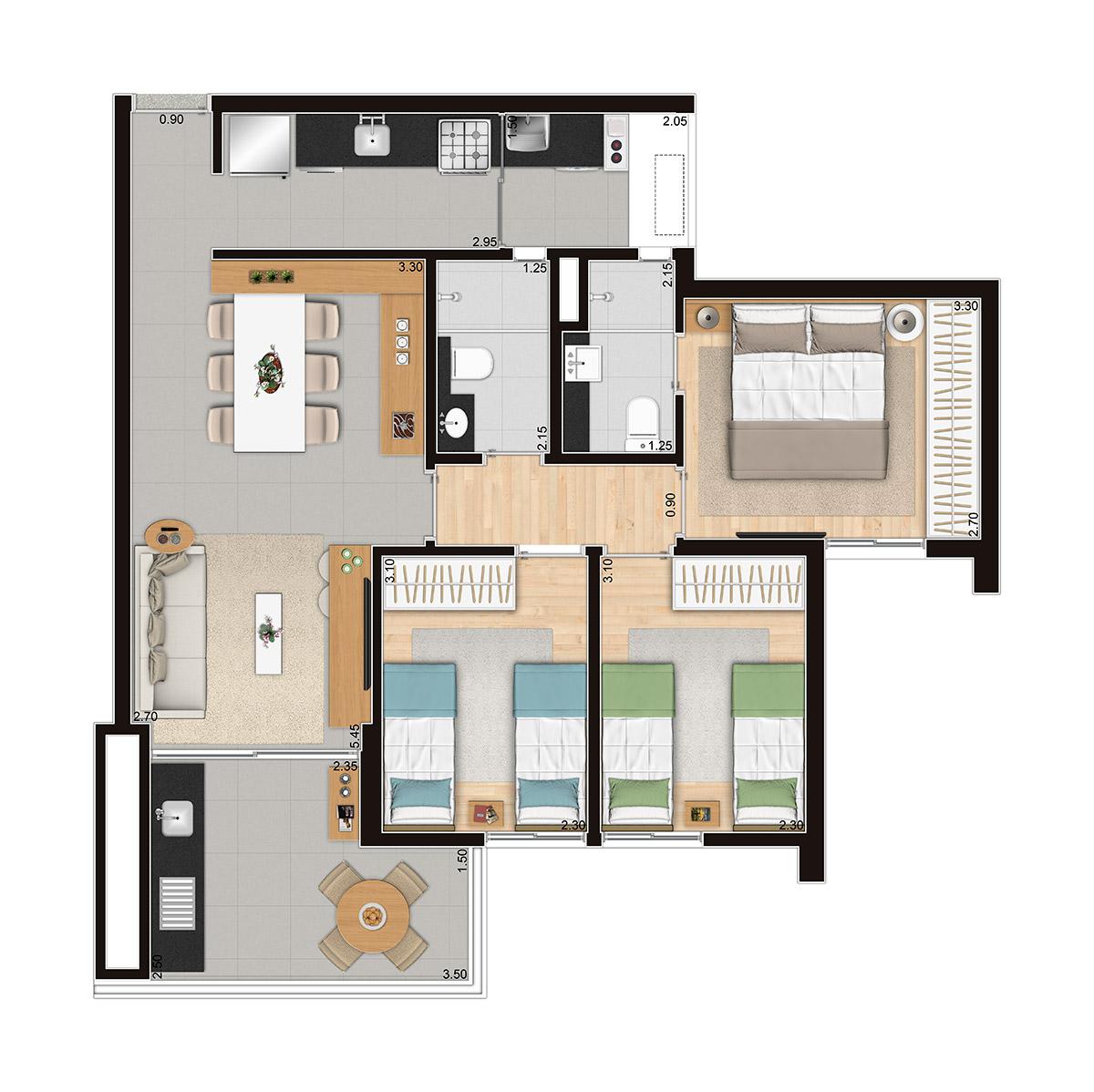 D'House - 3 dorms (1 suíte)